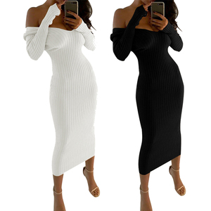 Fashion Elegant Off Shoulder Long Sleeve Bodycon Lady Women Maxi Dress