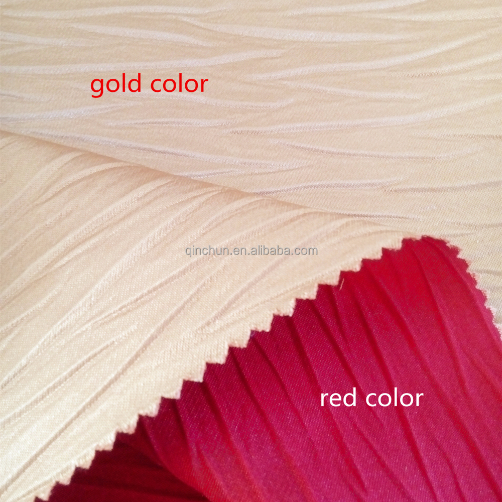 two tone pleated bright satin fire retardant fabric for curtain