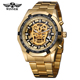 WINNER 274 Top Brand Luxury Men Mechanical Watch Golden Stainless Steel Strap Skeleton Dial Luminous Skull Design Wrist Watch