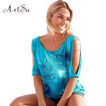 T-Shirt Women Off Shoulder Feather Print Short Sleeve Summer Top Jumper T Shirt Feminina Women Tops Tee Shirt Femme TS5116