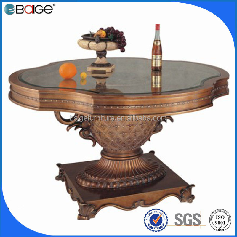 D-3291 Mideast wood and slate top abs 4 seater glass dining table