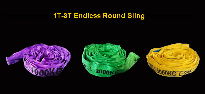 3 Ton 1 m Work Length Yellow Polyester Endless Round Lifting Sling Safety Factor 7:1