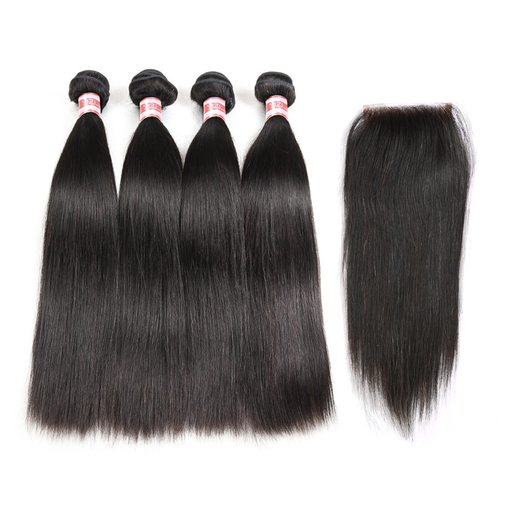 Hermosa Brazilian Straight Hair 4 Bundles with Closure 7A Unprocessed Brazilian Virgin Hair with Closure Mink Brazilian Hair with Closure Free Part 14 16 18 20+12