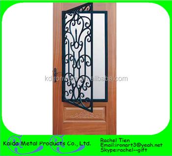 Ornamental Iron Grill For Wooden Door Designs