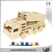 Educational Toy DIY Missile Truck 3D Wooden Children Puzzle