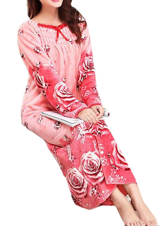 Get Quotations · Papijam Womens Long Sleeve Flannel Lounge Sleep Dress  Nightgown 408009d4e