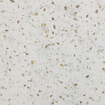 Gold White Engineered Stone Floor Tile Sparkle Quartz Countertops