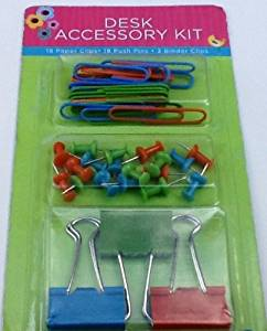 Desk Accessory Kit! Desk Tray Fillers, Paper Clips - Push Pins & Binder Clips