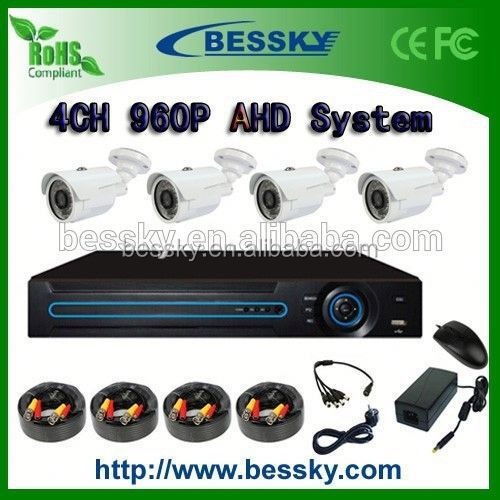 2015 Latest <strong>3</strong> in <strong>1</strong> AHD Hybird DVR Kit with 4pcs 960P HD AHD Cameras <strong>1</strong>.3MP CCTV AHD System <strong>internet</strong> home security system