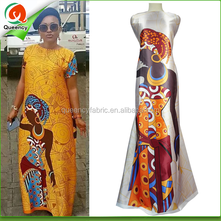 S097 Queency Factory Selling African Traditional Women Printing Polyester Stretch Dull Satin Silk fabric