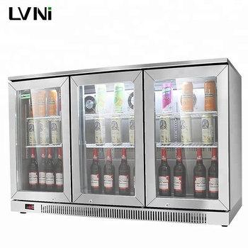 LVNI high-end stainless steel 3 glass doors display beer bottle fridge for bar club