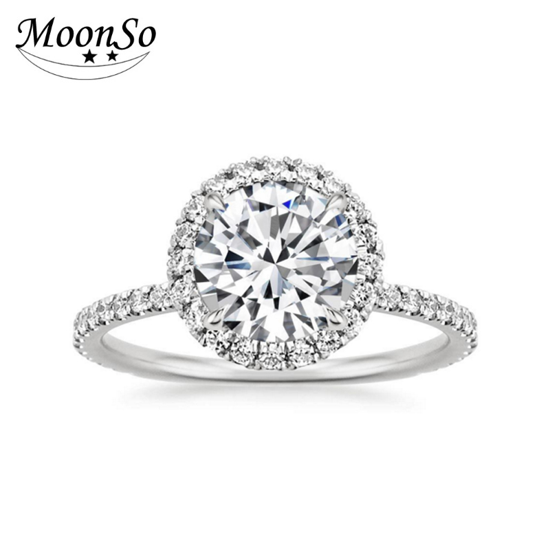 Wholesale 925 Sterling Silver Rings With One CZ Diamond Moonso AR2109S