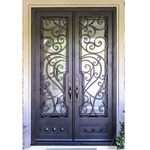 Modern elegant solid wrought iron double front door panel for house