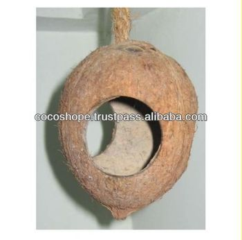 Coconut bird feeder with 3 holes buy bird nest feeder for Whole coconut bird feeders