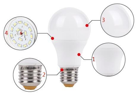 A60 Plastic 220 Degree LED Lamp Bulb 5W 7W 9W 11W E27 Bulb LED Light