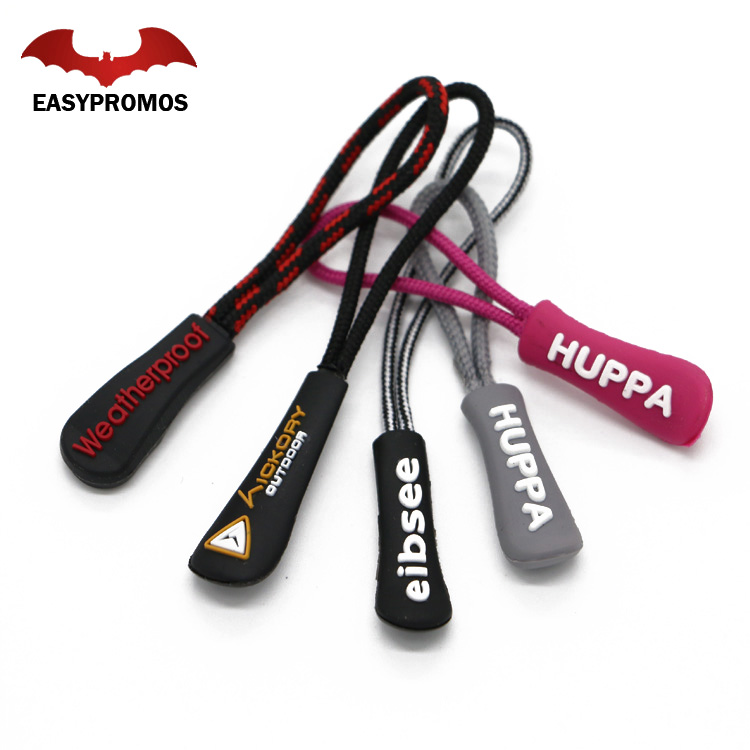 High Quality Custom Logo Fancy Brand Plastic Rubber PVC Bag Zipper Puller Rubber Silicone Zip Puller / slider for Bags