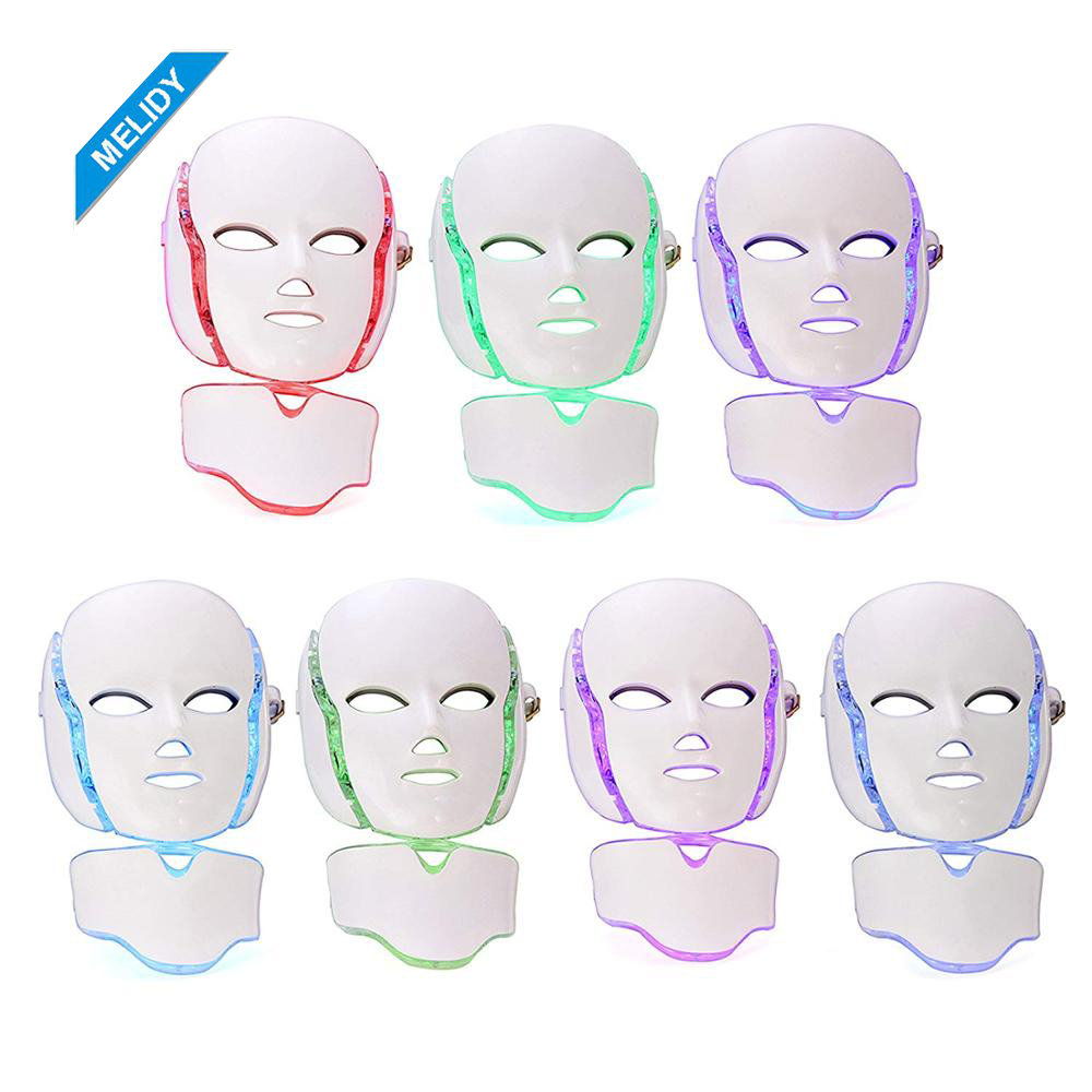 Professional 7 Color Face Neck Led Mask Led Photon Light Therapy Facial Mask фото