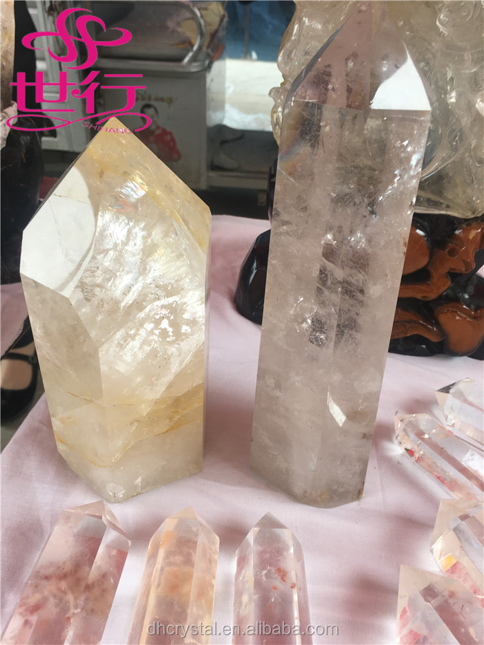 Natural clear crystal point large clear rock quartz point of sale display
