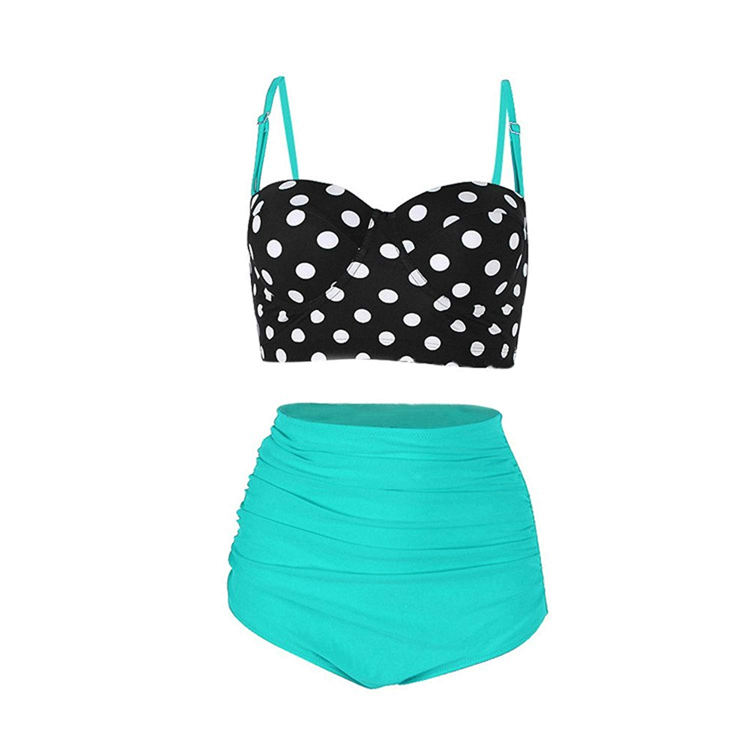 cea7c44602dc9 Get Quotations · COOKI Womens Swimsuits, Women Retro Dot Print Straps High  Waisted Two Piece Swimsuits Ladies Bathing