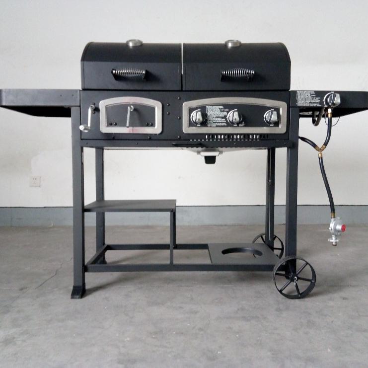 Gas Houtskool Roker 3 in 1combo Gas houtskool Bbq Barbecue