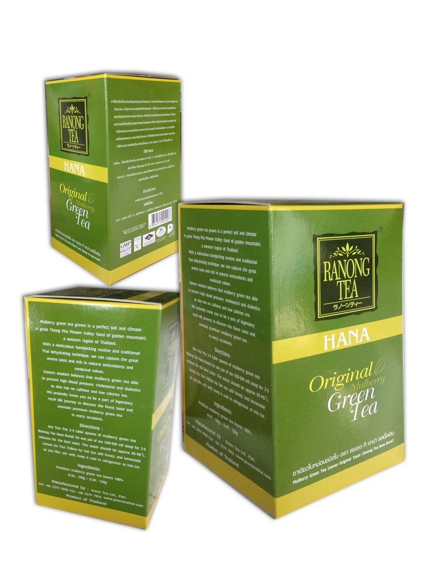 Japanese & Mulberry Green Tea Leaves Japanese Green Tea Taste Herbal High Anti-oxidant Brand Hana Ranong-tea N.W:100g/G.W:120g