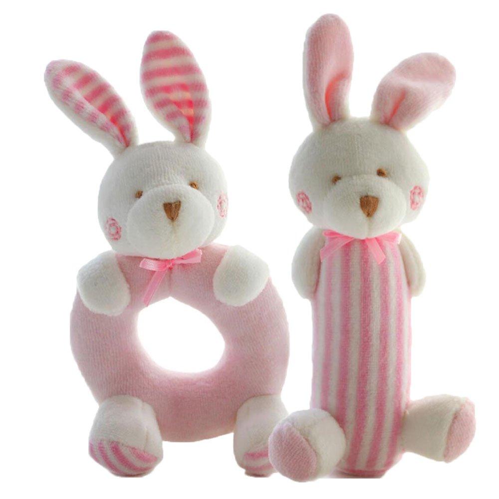 FOREAST 2 Pcs Rattle Set Soft Plush Baby Toys Newborn Gift 0-2 Years Girls / Boys Toy ,Plush Bunny / Bear Makes Fantastic Sound (Pink)