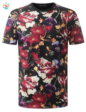 Wholesale floral T shirt mens flower printed shirts crew neck tshirt hip hop hipster clothing