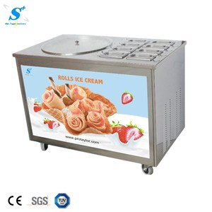 Competitive price 6 topping pan ice pan fry roll ice cream machine