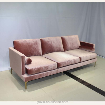 High Quality Feather Memory Foam Pink Colour Fabric Sofa Set With Gold Feet