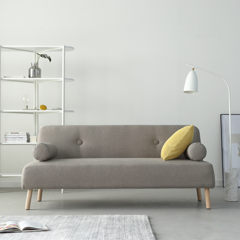 Fireproof Sofa Apartment Living Room Modern Furniture Linen Fabric Small E Sectional Couch With Movable Armrest