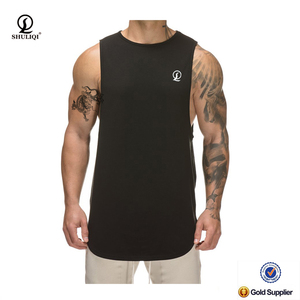 Scoop hem mens tank top quicky dry burnout tank top bodybuilding gym singlet customized