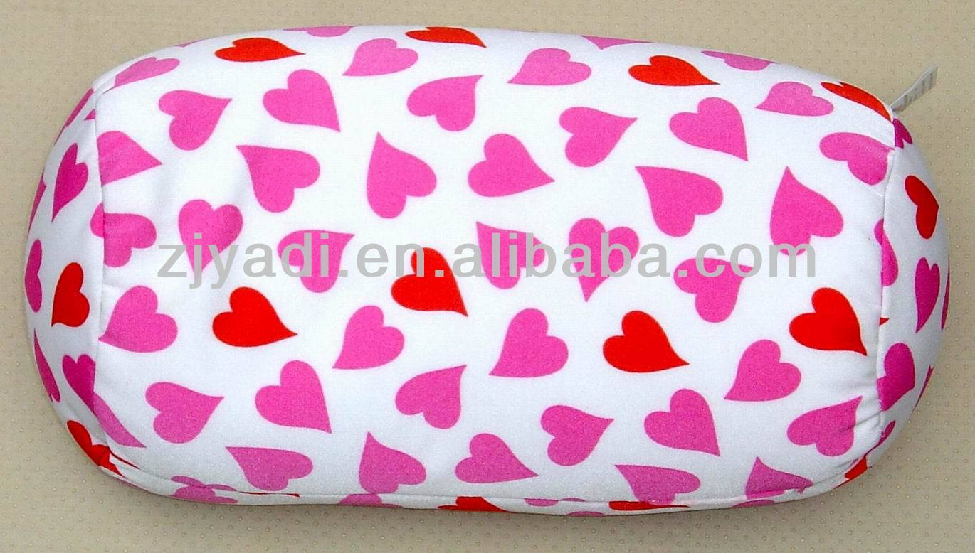 Heart Printed Microbeads bolster,Spandex beads Cushion, EPS pillow, EPS cushion, EPS tube bolster