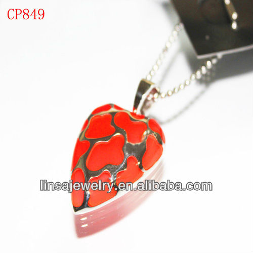 Popular Red Glue Pendant Leaf Shaped Casting Stainless Steel Pendant