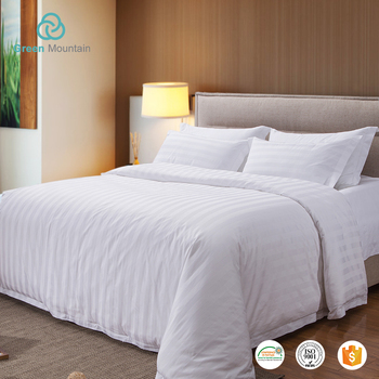 Green Mountain 100% cotton or polyester satin stripe / white plain / jacquard 4pcs white bedding set hotel