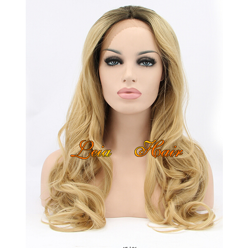 Blonde Wig Dark Roots Heat Resistant Wavy Synthetic Lace Front Wig Cheap Kanekalon Glueless Hair Ombre Lace Front Wigs 16''