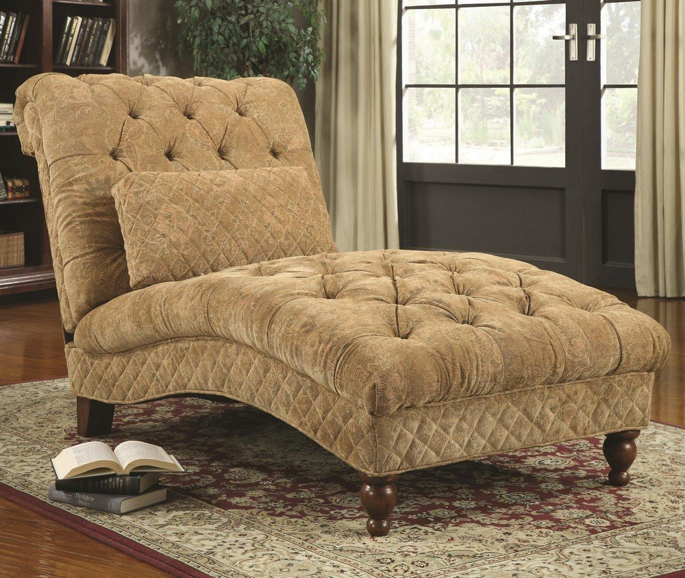 Golden sand color ultra plush chenille fabric upholstered tufted design chaise lounger with turned legs