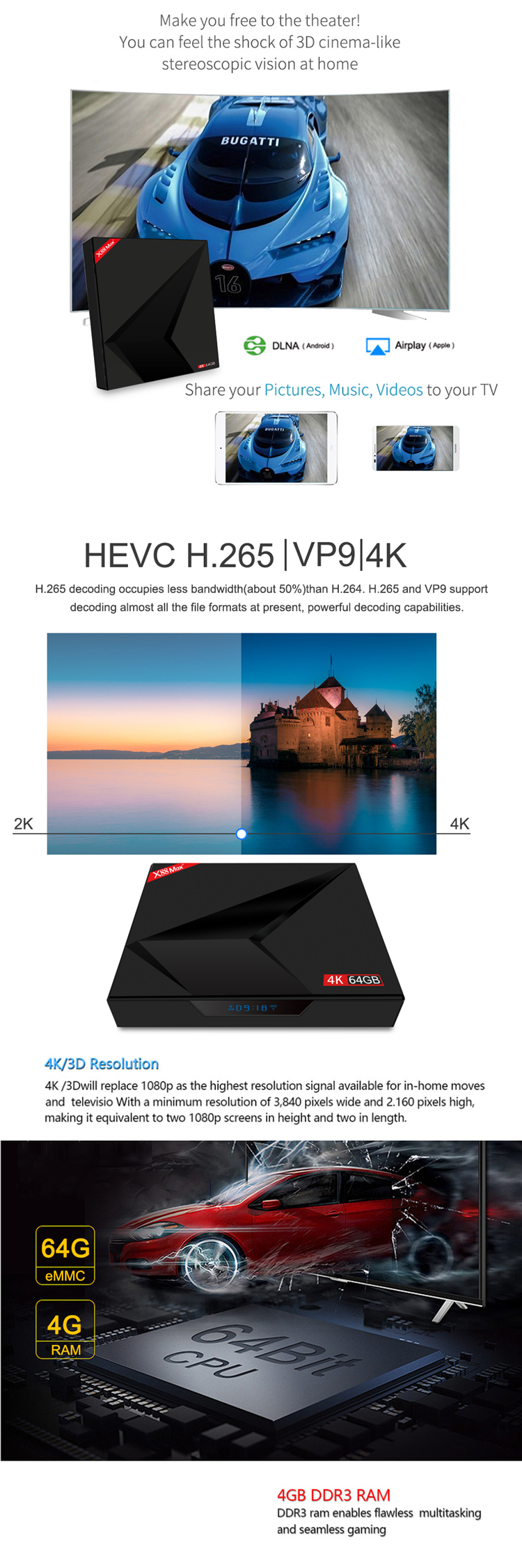 BT 4.0 hd video rockchip tv box x88 max+ rk3328 4G 32G 4k tv box video android 9.0 hd wifi kd player 18.0 set top box