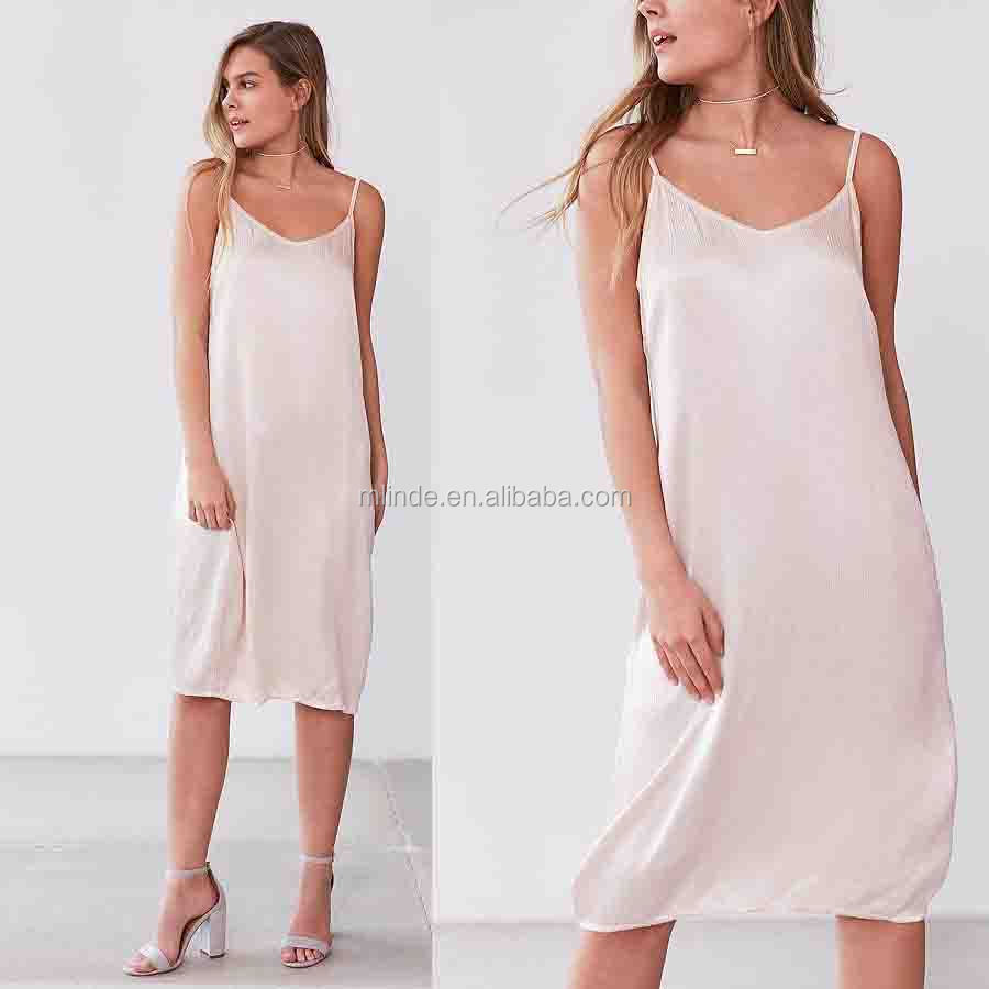 Girls Dress Slip Women Fashion Sleeveless Strappy Sexy Women Fashion Cheap Wholesale Causal Style Silk Satin Midi Slip Dress