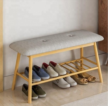 Door Entryway Wooden Shoe Bench With Shelf Storage Bamboo Organizer Upholstered Padded Seat Rack