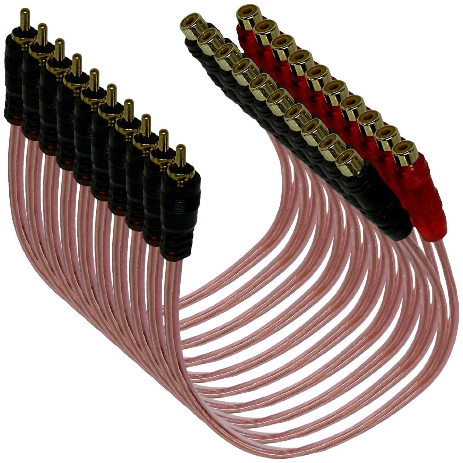 Bass Rockers Bulk 10 Pack RCA Y-Splitter Cables (1 Male to 2 Female) - BRC2F1M