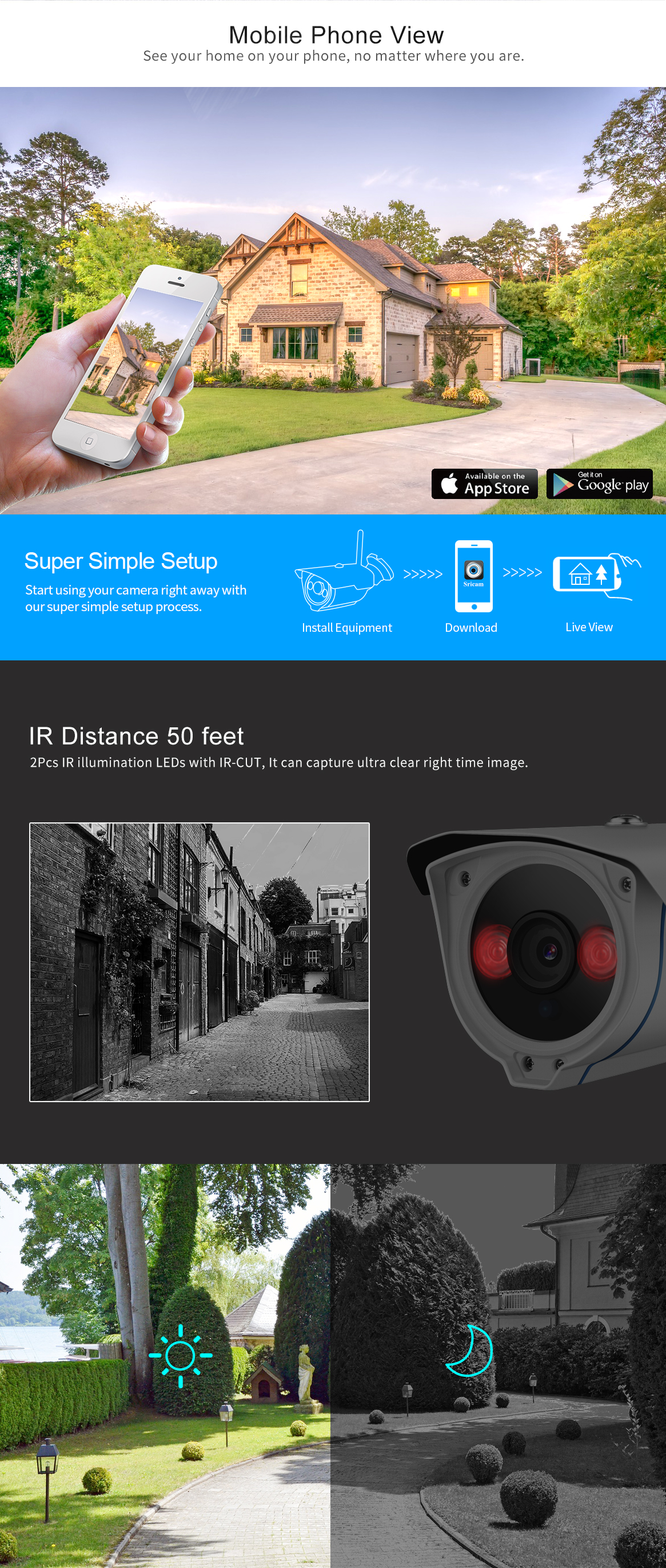 Sricam SP007 H. 265 ip camera outdoor Security Pan Tilt 2.0 Megapixel wifi security outdoor camera with sim card