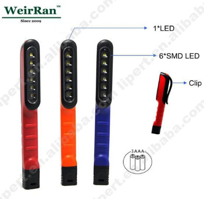(F0574)Portable pen shape small led work light with clip