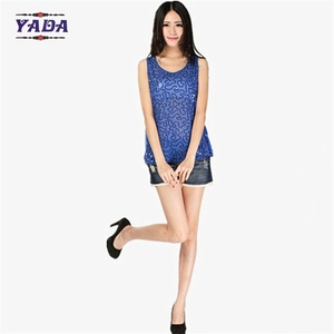 Wholesale sleeveless blue anti-shrink ladies fashion top vest sexy transparent sequin tank tops for women