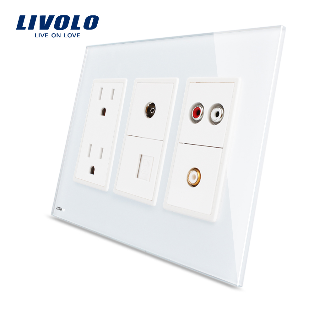 Livolo Us Standard Electrical Outlet White Crystal Glass 15a Ac Wall ...