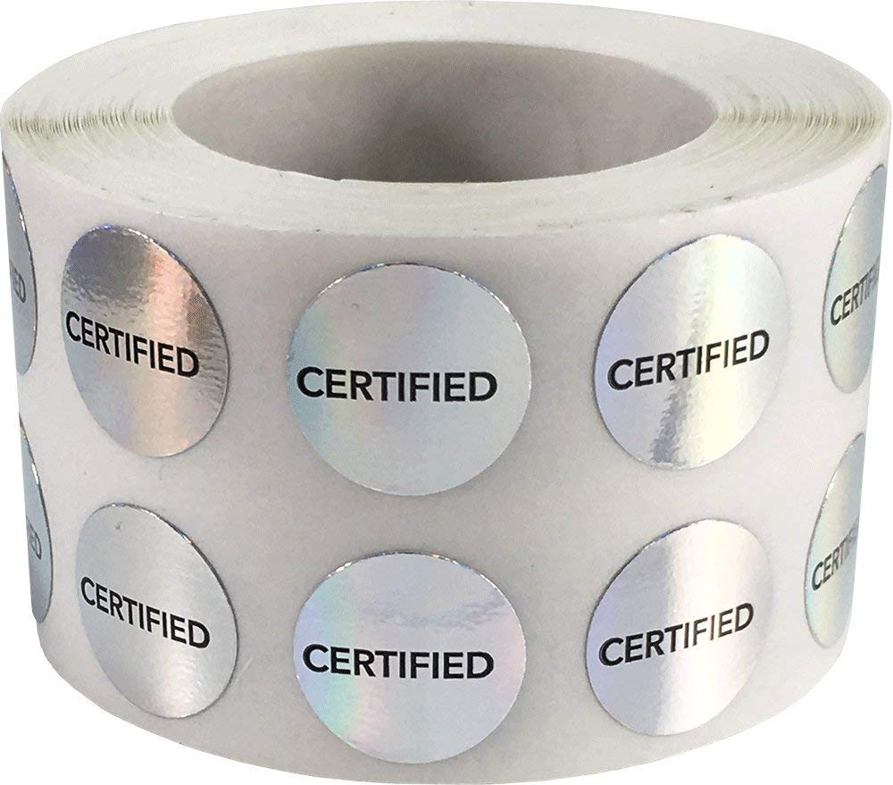 Certified labels holographic silver 5 inch round circle dots 1000 adhesive stickers