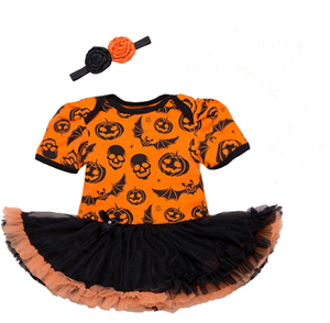 chic baby fabric tulle mesh tutu skirts Halloween baby wears romper with matching headbands
