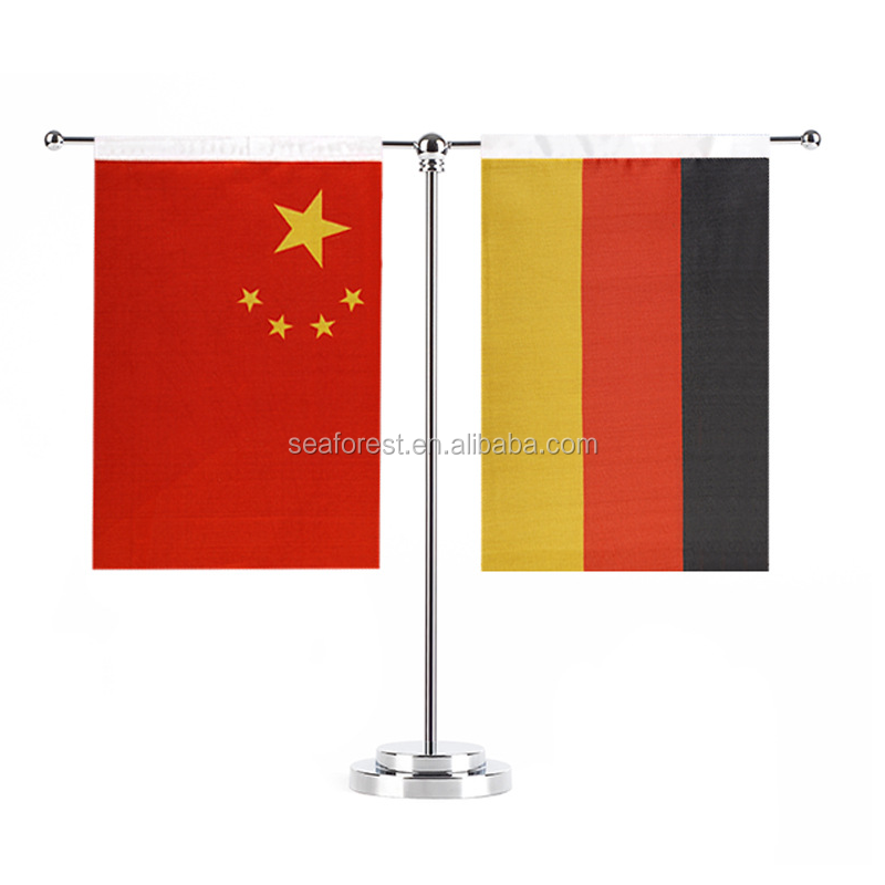 Custom Printed Office Small Table Flag With Metal Stand Desktop