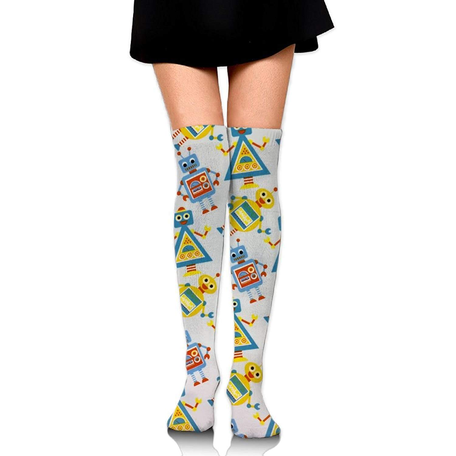 Zaqxsw Color Robot Women Fashion Thigh High Socks Long Socks For Teen Girls