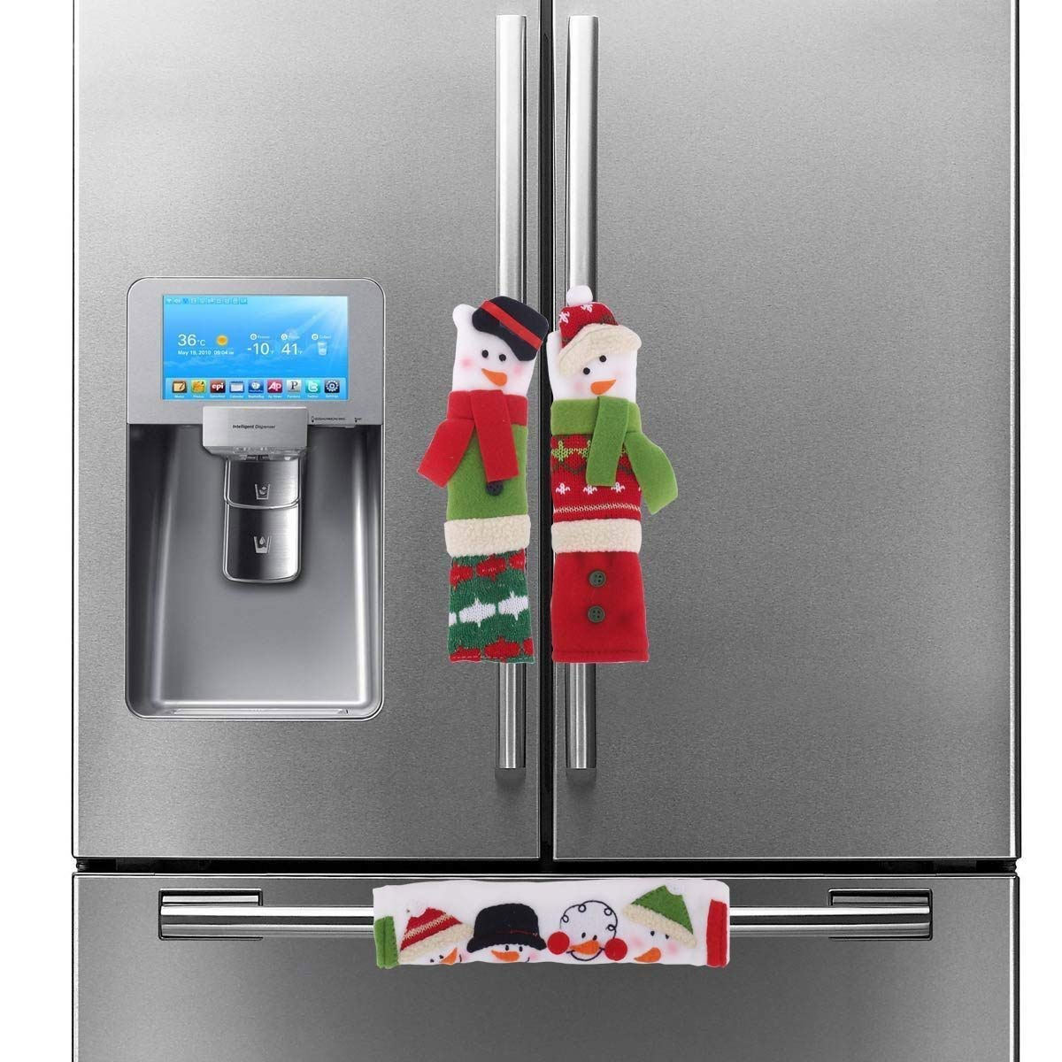 CHICTRY 3Pcs Christmas Snowman Refrigerator Door Handle Covers Kitchen Appliance Handle Protectors for Fridge Microwave Oven Dishwasher Xmas Decoration