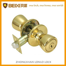 USA tulip-style polish brass rekeyable contractor and mortgage project keyed entry door knob lock